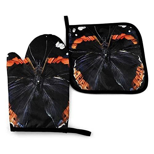 MayBlosom Diablo - Juego de manoplas de mariposa para horno, resistente al calor, resistente al agua, con capa interior de algodón