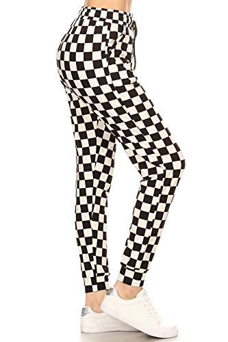 Leggings Depot JGA-S534-XL B&W Checkered Print Jogger Pants w/Pockets, X-Large