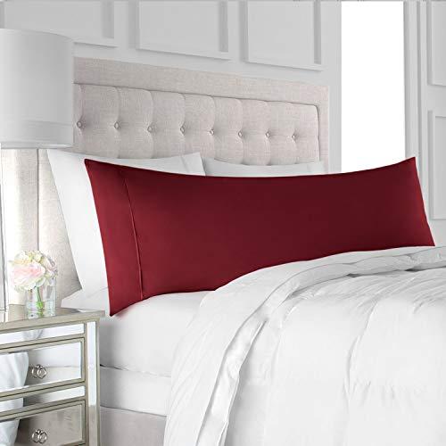 "Italian Luxury Body Pillow Cover - Soft, Allergy-Friendly Microfiber Pillow Case w/ No Zipper - Long Body Pillows for Adults - 21"" x 60"", Burgundy"