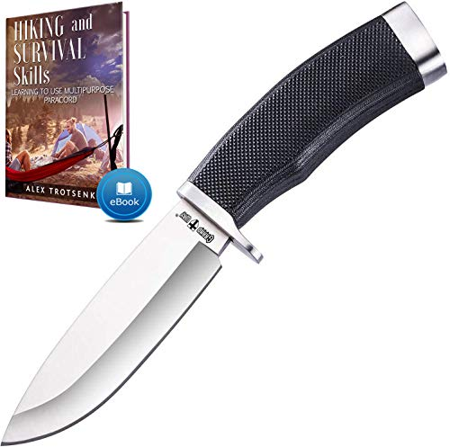 Hunting Knife with Sheath Survival Knives for Men - Best Tactical Camping Hunting Hiking Knife - Bushcraft Field Gear Accessories Tool - Fixed Blade Sharp Knofe with Rubber Handle for Men 148109