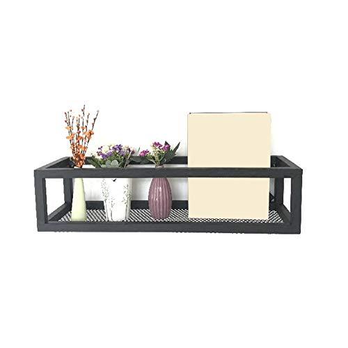 HY-WWK Metallgitter Regal Wohnzimmer Badezimmer Schwarz Eisen Wanddekoration Lagerregal,100 X 20 X 15 cm