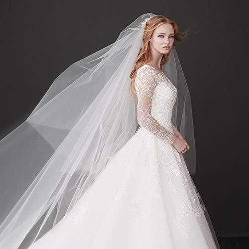 JUY Velo da Sposa Lungo Lungo Scialle in Tulle a 2 Piani con Pettine in Metallo Bianco Avorio
