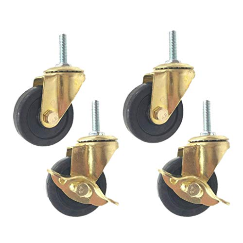 50mm Caster Wheels,Swivel Casters with Brake,Rubber Furniture Caster,with M8 Threaded Rod,for Home Furniture,Office Table Cabinet,Quiet and Wear-Resistant,Solid Rubber,Set of 4