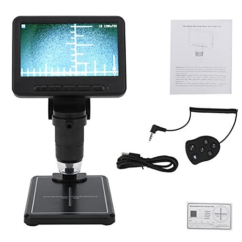 Jopwkuin Microscopio Digital LCD, HD Pantalla De 5 Pulgadas 8 Led 1080P Microscopio USB Inalámbrico Cámara Ajustable Grabador De Video Aumento para Tableta De Teléfono Móvil