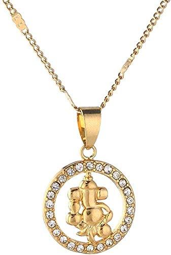 LKLFC Collar para Mujeres, Hombres, Color Dorado, Colgante, Collar, Colgante de Yoga Indio, Budista Indio, religión hindú, joyería, Collar Colgante, Regalo para niñas y niños