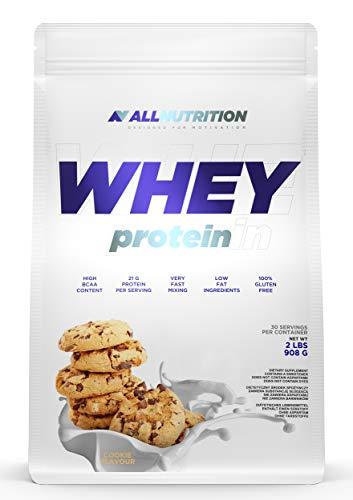 ALLNUTRITION Whey Protein 908g 1er pack Eiweißpulver Molkenproteinpulver Muskelaufbau mit Verzweigte Aminosäuren BCAA (Cookies)