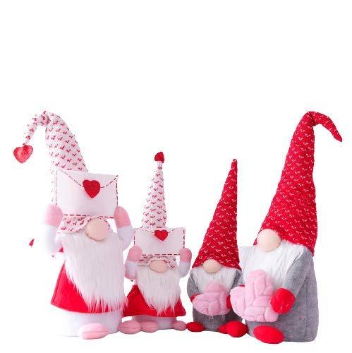 Hengqiyuan 4 stücke Valentines Tag GNOME Dekorationen, Valentines Handmade Plüsch Puppe Plüsch Dekorationen, Handuhr skandinavisch Tomte für Valentinstag Tischverzierung,Valentine's Present