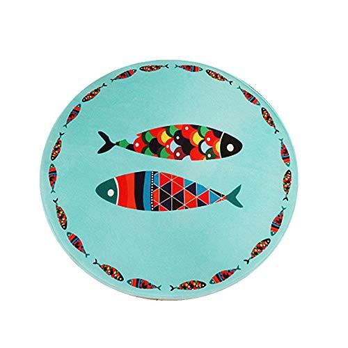 Sticker Superb - Tapis Pour Enfants Salon Design Dessin Animé Tapis Salon Tapis Rond de 80 cm de Diamètre Lion, Manchot, Chat, Poisson - Multicolore 8 mm Moquettes (Poisson)