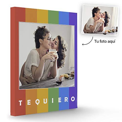 Fotoprix Lienzo Personalizado con Foto y diseño 'Arcoiris' | Regalo Original LGTB - Orgullo Gay | Varios diseños y tamaños (Arcoiris, 50 x 70 cms)