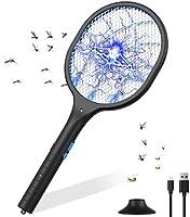 2-in-1 Oplaadbare Elektrische Muggenracket, 3800V Elektrische Insectenmepper 5 Lagen Gaasbeschermer, 3 LED-muggenval,...
