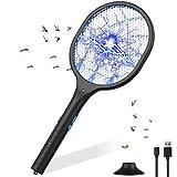 Raqueta Matamoscas Electrico Raqueta de Mosquitos Mata Mosquitos Plagas Insectos Asesino Repelente Mata Insectos Matamoscas Swat de Mosquito Eléctrico (Negro) (Negro)