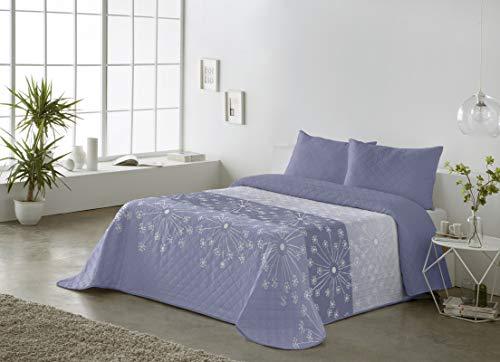BOHEME Colcha Estampada Reversible Melania Azul Cama 135 cm