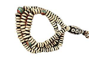 ZHIBO Alte Perlen-Halskette, tibetischer Anhänger, Pulloverkette, tibetischer Dzi