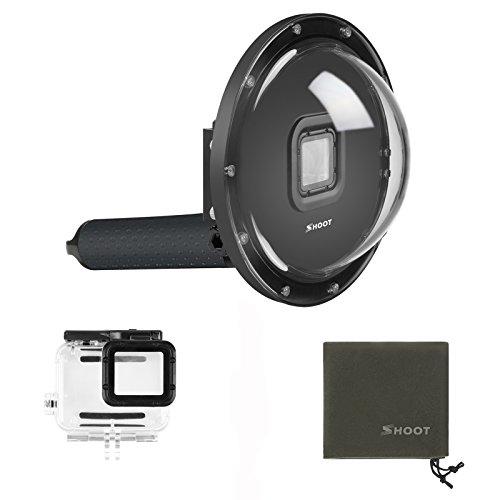 SHOOT Dome 6 Zoll Tauchen Unterwasser Transparente DomePort mit Handgriff un Gehäuse für GoPro Hero 7/Hero(2018)/HERO6/HERO5 Black Kamera