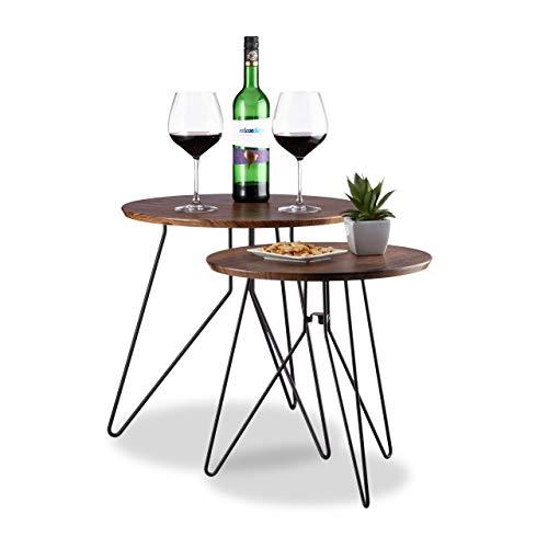 Relaxdays Beistelltisch Vintage, 2er-Set Satztische, Runder Couchtisch, Tischplatte Holzoptik 48cm & 40cm, Dunkelbraun, Holzwerkstoff, Braun, Standard