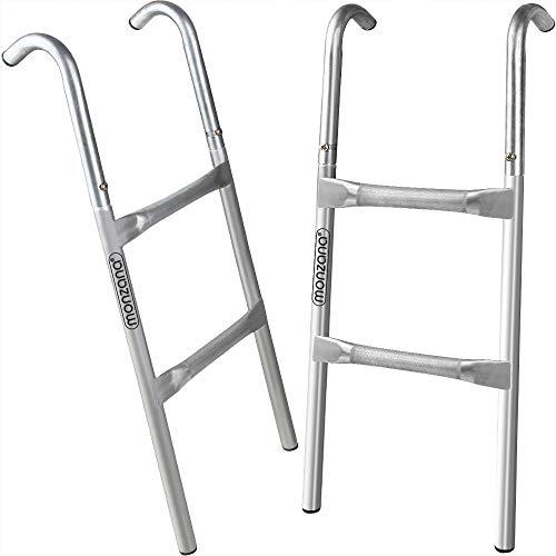 Deuba Escalera de trampolín Cama elástica de 76 cm 2 peldaños Altura de 55cm Entrada Resistente a los Rayos UV Montaje Flexible