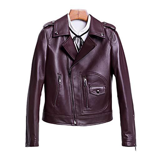 HUIGE Lederjacke Damen Lammfell Jacken Motorrad Langarm Reißverschluss Taschen Kurze Slim Bikerjacke Zipper Kleiner Mantel Metallknopf,Rot,L