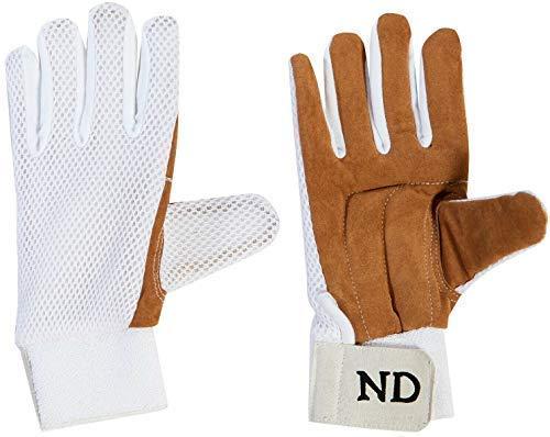 ND Sports Cricket Wicket Keeping Chamois Full Finger Innenhandschuh Premium Qualität Herren UK