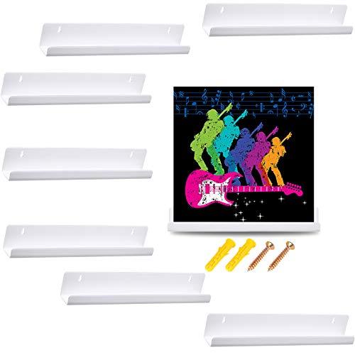 8 Stücke Vinyl Schallplatten Regal Wand Schallplatten Rahmen Display Regal Acryl Wandregal für Schallplatten Sammlung und Dekoration (Weiß)