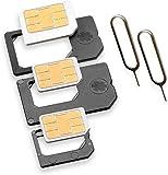 Nano Sim & Micro Sim Adapter KOMPLETT-SET (5er-SET) mit 2x Simnadel Eject Pin, Adapter sind zur Nutzung von NanoSIM & MicroSIM Karten als Micro Sim oder normale Sim Karte für alle Handys im Charmate® Druckverschlussbeutel