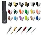 Frenshion 18Pcs Kit Set 8ML Clásico DIY 3D Diseños de uñas de gel esmalte de uñas de gel pintado, pintura, dibujo, UV, LED, delineador de gel, lápiz de esmalte, lápiz de línea para salón de manicura