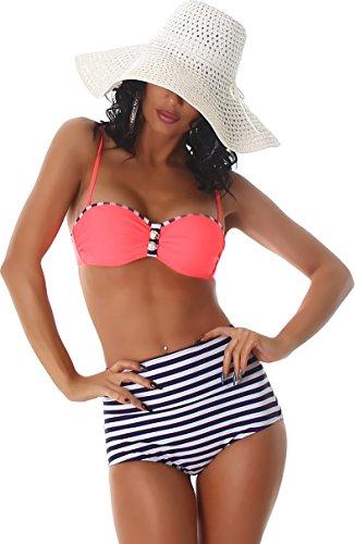 PF-Fashion Damen Push-Up Bikini Träger Uni Maritim Bandeau Vintage Retro Marine High-Waist Slip gestreift Salmon 32/34