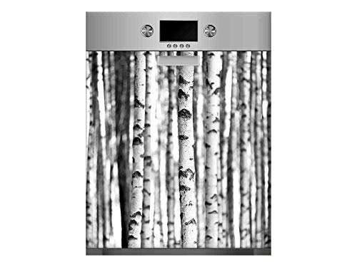 Vinilo para Lavavajillas Troncos de Árboles Blanco y Negro   Varias Medidas 65x75cm   Adhesivo Resistente y de Fácil Aplicación   Pegatina Adhesiva Decorativa de Diseño Profesional