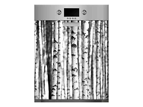 Vinilo para Lavavajillas Troncos de Árboles Blanco y Negro | Varias Medidas 65x75cm | Adhesivo Resistente y de Fácil Aplicación | Pegatina Adhesiva Decorativa de Diseño Profesional