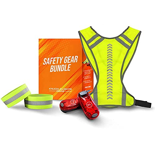 Safety Gear Bundle - Reflective Vest + 2 Blinking LED Safety Lights + 2 Reflective Arm Bands for Nighttime Visibility While Running, Walking, Cycling, Hiking and Other Outdoor Adventures