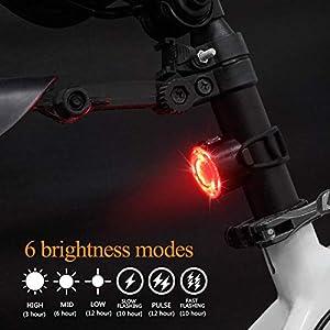 Luces Bicicleta, Impermeable Luz LED Bicicleta, 6 Modos de Brillo Luz Delantera Trasera, Recargable USB Bicicleta de Montaña o Carretera Seguridad para la Noche Luces