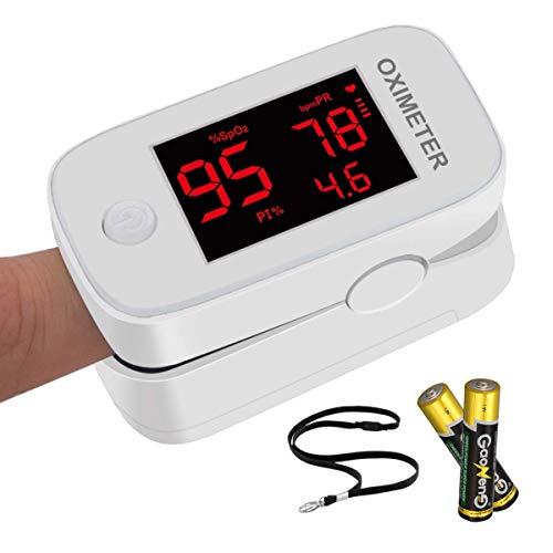 Pulsioxímetro de dedo, medidor saturacion oxigeno dedo, monitor de frecuencia cardíaca - Oxímetro de pulso profesional, pulsometro para adultos y niños con baterías - Aprobado por la FDA ✅