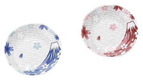 Kakusee [Lot de 2] Ishida de Hiromi Porcelaine Petite Assiette/Mont Fuji Rouge et Bleu Fg-03