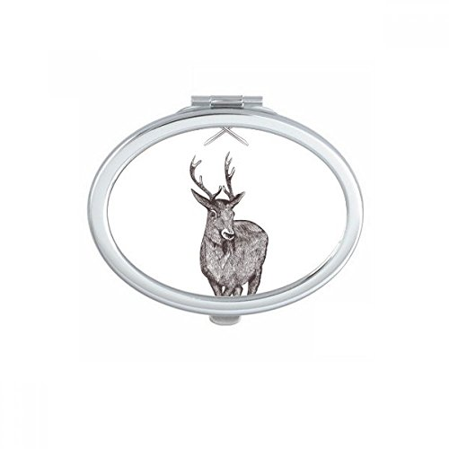 DIYthinker Elk Zwaard Kroon Dier Zwart Wit Barok Stijl Ovaal Compact Make-up Pocket Spiegel Draagbare Leuke Kleine Hand Spiegels Gift
