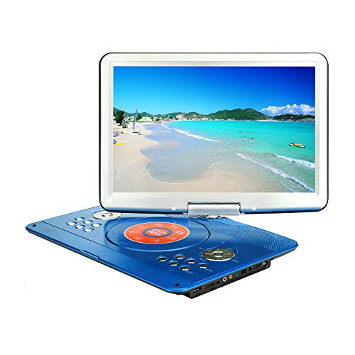 YOOHOO 16.9'' Portable DVD Player with 6 Hours Rechargeable Battery,14.1'' HD Swivel Large Screen,Remote Controller,Supports SD Card, USB Port and Multiple Disc Formats (Blue)