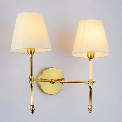 ZPSPZ Applique Murale American Antique Cuivre Lit Projecteur Projecteur Chambre D'Hôtel Allée Allée Mur Lampe,La Double Tête