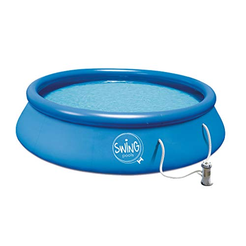 well2wellness® Quick-Up Pool Aufstellbecken Swing Ø366 x 91cm blau inkl. Filterpumpe 12 Volt