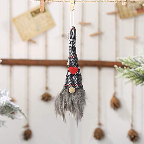 Higlles Retro Gitter Gesichtslose Puppe Weihnachtsdekoration Anhänger Creative Wald Weihnachten Kleiner Charme