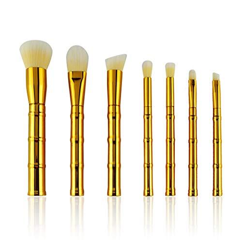 BXGZXYQ Poignée en bambou doré Brosse cosmétique 7 Pinceau de couverture pour produits cosmétiques Laine blanche Poignée de galvanoplastie Brosse cosmétique Brosse à sourcils (Size : 7-piece)