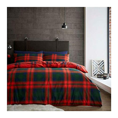 Lions Flannelette Bedding Set, 100% Brushed Cotton Duvet Cover with Pillowcase, Super Soft, Reversible Quilt, Easy Care, 2 Piece (Scottish Tartan Check Navy/Red, Double)