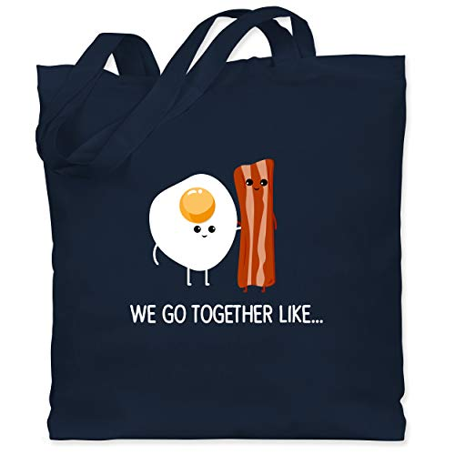 Shirtracer we go together like. Bacon, Egg - Unisize - Navy Blau - stoffbeutel valentinstag - WM101 - Stoffbeutel aus Baumwolle Jutebeutel lange Henkel