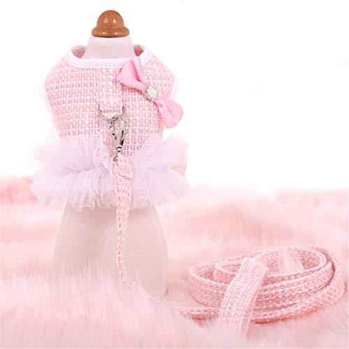 WWWL Arnés para perro con correa para perro pequeño para otoño e invierno Tweed de lujo princesa perro arnés y correa conjunto lindo perro pecho chaleco caminando plomo Chihuahua S rosa
