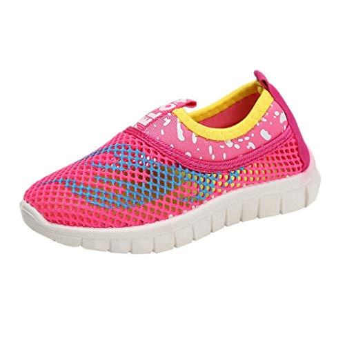 Vamoro Infant Kinder Baby Jungen Mädchen Mesh Feuer Print Sport Run Sneakers Freizeitschuhe Mesh Schuhe Atmungsaktiv Sandalen Geschlossene Sandalen(Rosa,24 EU)