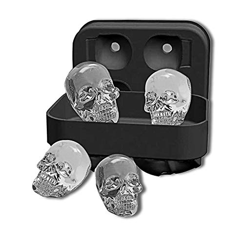 OUSMIN 3D Skull Shape Shapes Black BPA Free Silicone Ice Cube Mold Tray with Lid Makes 4 Vivid Skulls, Perfect for Whiskey, Cocktail and Any Drink