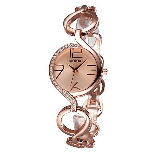 manson Donne moda catena catena braccialetto cristallo intarsiato quadrante al quarzo vestito da polso orologio da uomo moda casual due puntatore quadrante rotondo PU. Cinturino in pelle
