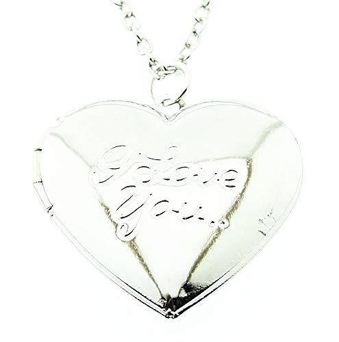 Vrouwelijke ketting - vrouw - hart - i love you - opening - iyou - hanger - valentijnsdag - doos - zilver - paar - origineel cadeau idee i love you