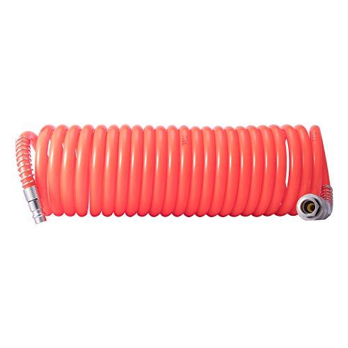 Manguera de aire comprimido profesional, 6 m, manguera en espiral con acoplamiento rápido, presión de trabajo 10 bar, de poliuretano, 6,5 x 10 mm, 1/4'