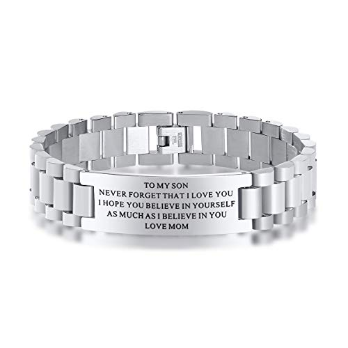 Stainless Steel To My Son Love Mom Courage Inpsirational Wristband Bracelets, Birthday Gifts to Son ,Valentine's Day Gift to Son,Son Bracelet for Valentine's Day Gift from Mom and Dad,Love Son Gift