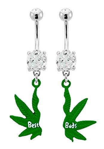 Best bud's Friend's Pot Leaf Cannibus Marijuana dangle Belly button navel Ring piercing bar body jewelry 14g
