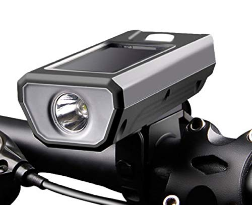 tangjiu Faro De Bicicleta,Bocina De Faro De Bicicleta De Carga USB Solar, Luces De Bicicleta De Montaña, Accesorios para Equipos De Bicicleta Linterna