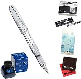 [セット品]プラチナ万年筆 万年筆6点セット(PGB-3000A バランス #5:シャインクリスタル 細字)、ボトルインク(ボトルインク INK-1200 万年筆用水性染料インク #3 ブルーブラック)、コンバーター、クリーナーキット、一筆箋、クロス